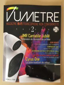 Magazine Vumètre n° 7 disponible chez E&M. En couverture, la nouvelle enceinte JMR Cantabile Jubilé, qui arrive dans quelques jours dans notre salle d'écoute
